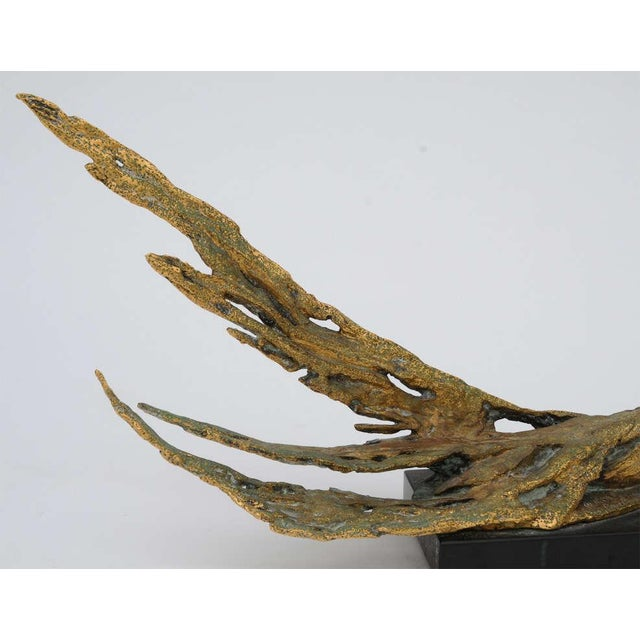 Gold Bronze Bird Sculpture by Peggy Reventlow For Sale - Image 8 of 9