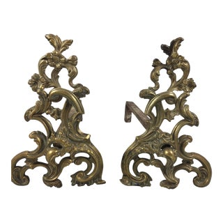 Antique French Rococo Brass Fireplace Andirons - a Pair For Sale