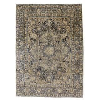 Antique Persian Yazd Oversize Rug with Hollywood Regency Style
