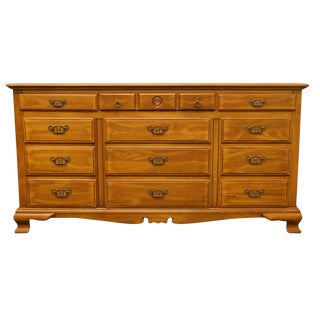 20th Century British Colonial Drexel Heritage Solid Walnut Triple Dresser For Sale