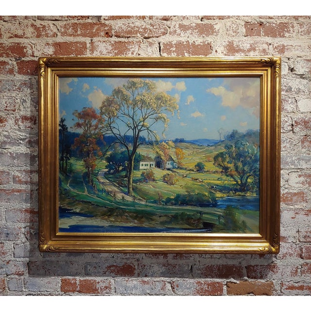 New England Country Side Landscape Oil Painting For Sale - Image 10 of 10