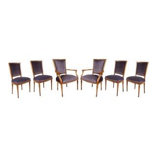 Maison Jansen Amethyst Velvet Dining Chairs - Set of 6