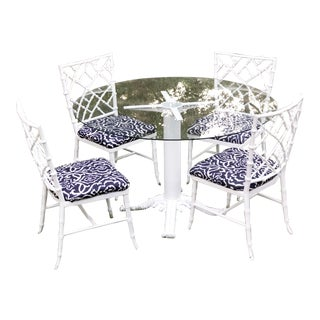 Vintage 1940s Faux Bamboo Chinoiserie Cast Aluminum Patio Dining Set For Sale
