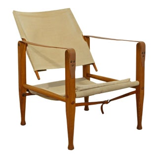 1960s Vintage Arne Norell Danish Mid Century Modern Safari Leather Wood Armchair For Sale