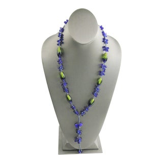 Hand Knotted Glass Bead Necklace For Sale