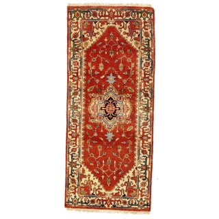 """Traditional Pasargad Ny Serapi Design Hand-Knotted Rug - 2'7"""" X 6' For Sale"""