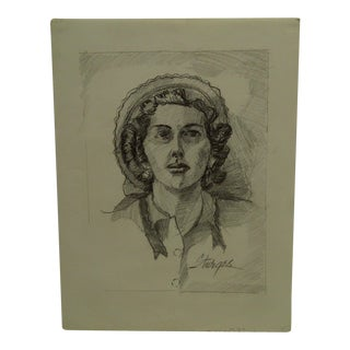 "1952 Mid-Century Modern Original Drawing on Paper, ""Lady in Bonnett"" by Tom Sturges Jr."
