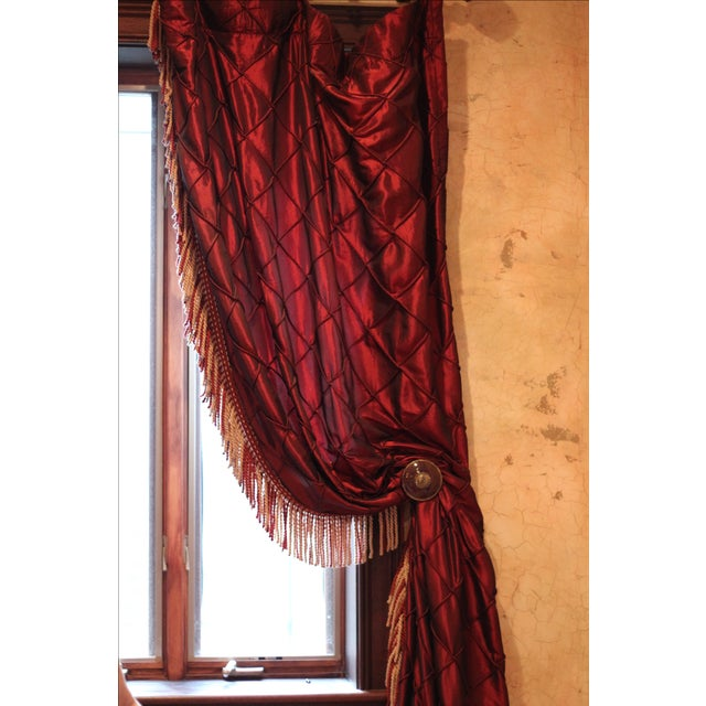 Victorian Style Drapes in Burgundy - A Pair - Image 7 of 10