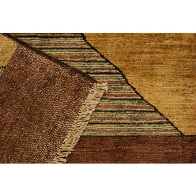 Textile Gabbeh Peshawar Valentin Brown/Gold Hand-Knotted Wool Rug -3'0 X 4'8 For Sale - Image 7 of 8