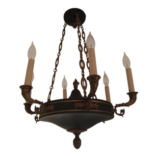 Empire Style Gilded Bronze and Green Tole 6 Light Chandelier For Sale
