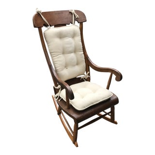 Antique Early American Wooden Rocking Chair With Cushions For Sale