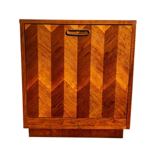 1950s DanishModern Record Cabinet with Walnut Marquetry Veneer For Sale