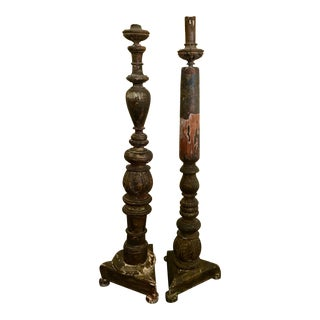 Antique Hand Carved Very Large Wooden Candlesticks - a Pair