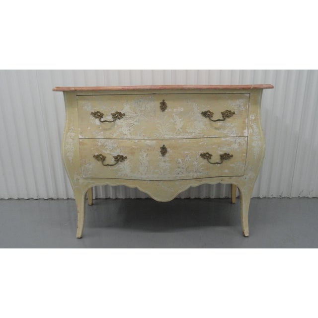 Fantasy painted chinoiserie two-drawer bombe chest. Classic French bombe shape on the midcentury chest. Original hardware....