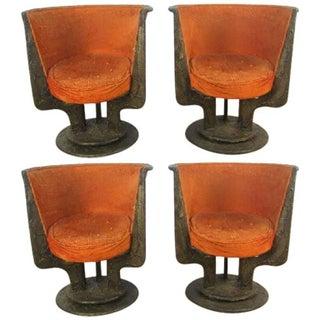 Set Four Paul Evans Sculpted Bronze Chairs