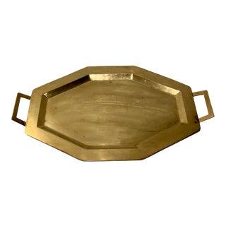 Vintage Brass Octagon Handled Serving Tray For Sale