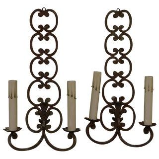 Early 20th Century French Iron Sconces - A Pair