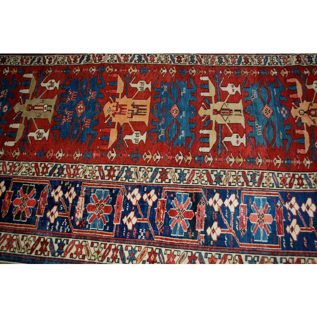 """1880s Antique Handmade Caucasian Shirvan Rug- 4'4"""" X 8'9"""" For Sale In New York - Image 6 of 10"""