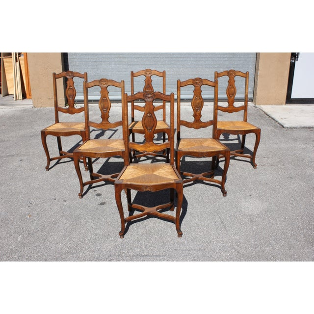 Early 20th C. Vintage French Country Rush Seat Walnut Dining Chairs- Set of 6 For Sale - Image 4 of 13