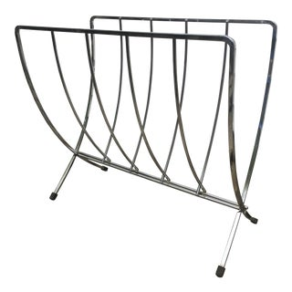 1950s Vintage Mid Century Mid-Century Modern Chrome Collapsable Magazine Rack For Sale
