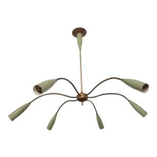 Mid Century Modern Italian Chandelier Six Arms Olive Green & Brass Sputnik Era