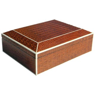 Beatiful Large Brown Crocodile Box With Bone Trim