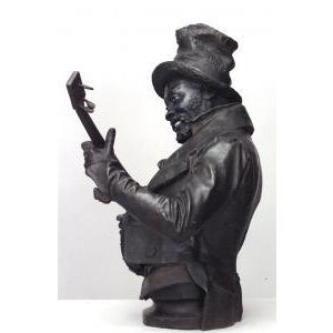 American Victorian style (late 19th Cent) metal bust of black banjo player wearing top hat with flowers on oval base (signed P. CALVI) For Sale - Image 4 of 9