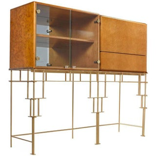 Milo Baughman for Thayer Coggin Maple Bar Cabinets with Custom-Made Metal Base Preview