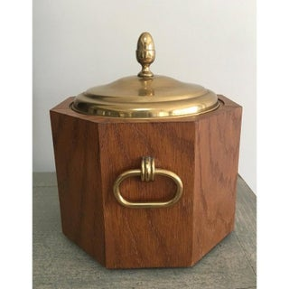 Mid-Century Modern Octagonal Wood and Brass Ice Bucket With Handles Preview