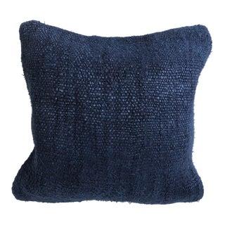 Vintage Turkish Blue Hemp Organic Pillow For Sale