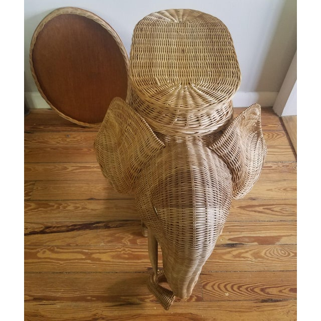 1970s 1974 Boho Chic Thailand Natural Wicker Elephant Table For Sale - Image 5 of 9
