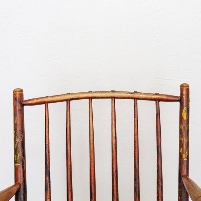 Black Grain Painted Spindle Back Rocking Chair | 19th Century Red Primitive Antique For Sale - Image 8 of 12