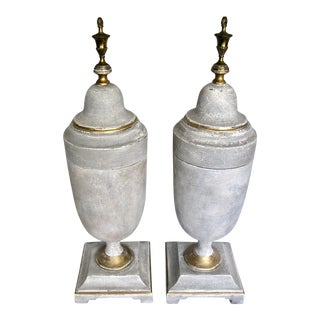 Large Painted Lidded Urns With Brass Finials - a Pair