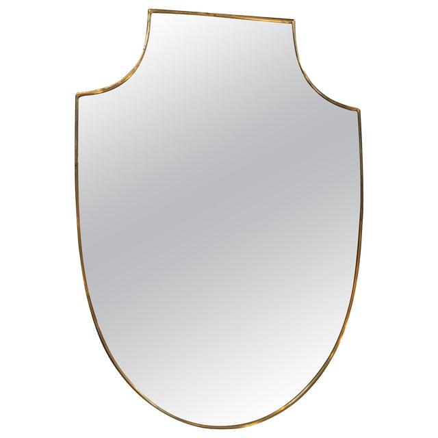 Midcentury Italian Shield Shape Mirror, 1960s For Sale