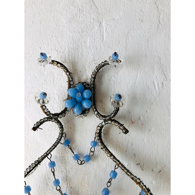 1920s French Lavender Opaline Beads Beaded Sconces, circa 1920 For Sale - Image 5 of 10