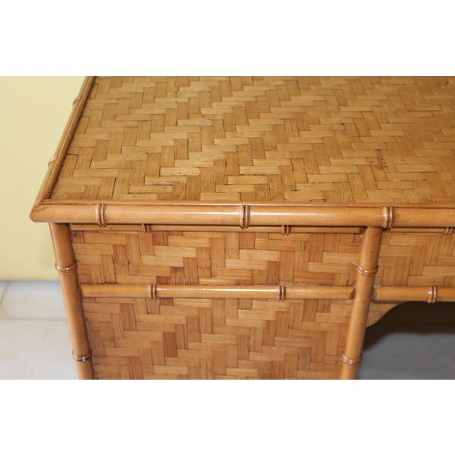1960s Vintage Bamboo Campaign Style Writing Desk For Sale - Image 11 of 13