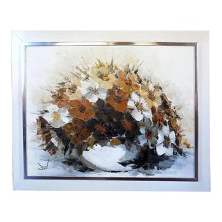 Original Mid-Century Acrylic on Canvas Flowers in Relief From Coconut Grove Art Fair 1970s, Framed For Sale