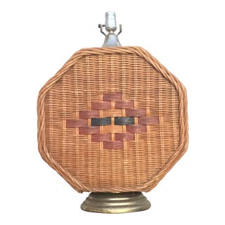Mid Century Vintage Octagonal Wicker Lamp For Sale