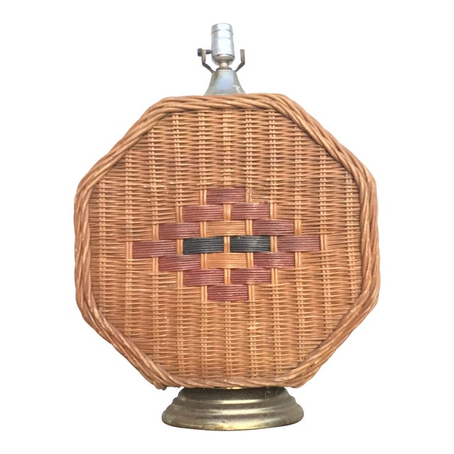 Mid Century Vintage Octagonal Wicker Lamp For Sale