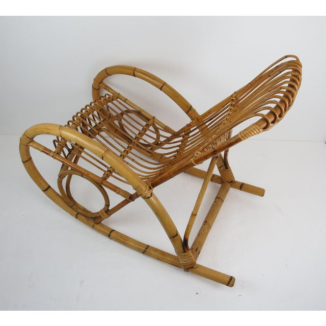 Bamboo Vintage Franco Albini Style Bamboo Rocking Chair For Sale - Image 7 of 13