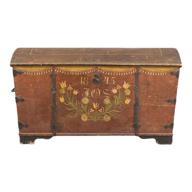 Antique Swedish hand painted chest from 1845. Original hand painted details with floral paintings and initials
