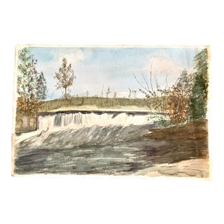 Waterfall Watercolor Painting on Paoer For Sale