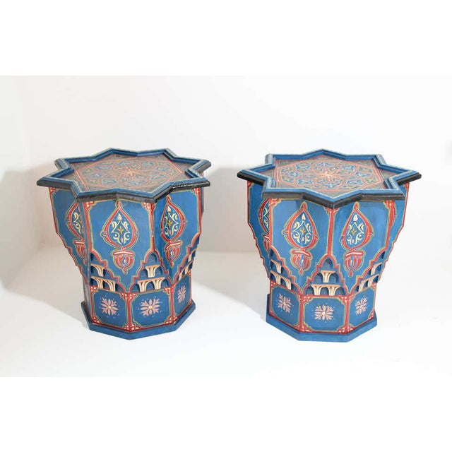 Moorish Star Shape Blue Side tables - A Pair For Sale - Image 9 of 13