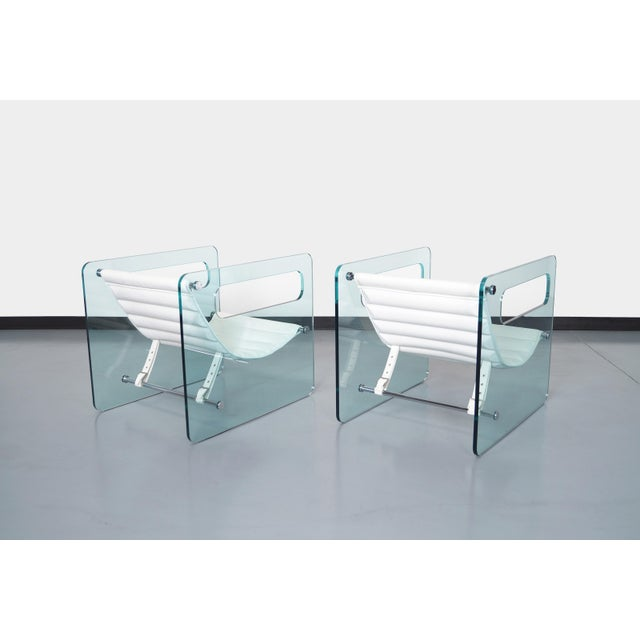 """Danish Modern Italian """"Naked Glass Lounge Chairs by Giovanni Tommaso For Sale - Image 3 of 10"""