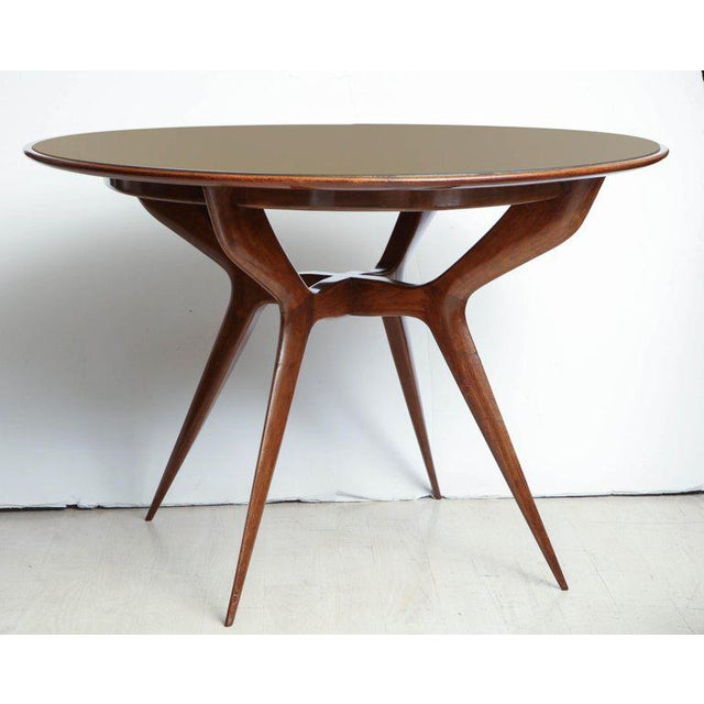 Mid-Century Circular Wood Center Table With Reverse Painted Gold Glass Top For Sale - Image 4 of 8
