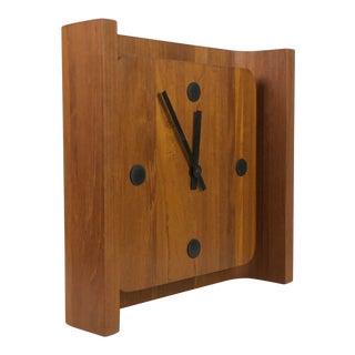 Danish Teak Curved Back Table Clock For Sale