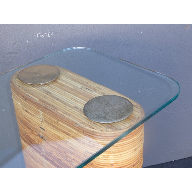Vintage Mid-Century Double Pedestal Bamboo Rattan Wrapped Glass Top Console Table - Image 10 of 11