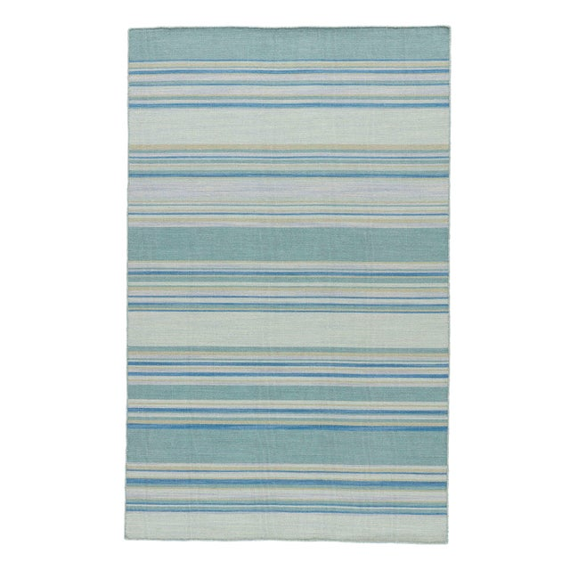 Jaipur Living Kiawah Handmade Striped Blue/ Turquoise Area Rug - 8′ × 10′ For Sale In Atlanta - Image 6 of 6