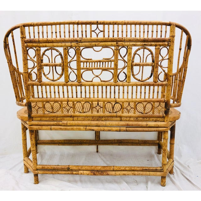 Vintage Scorched Bamboo & Cane Settee For Sale - Image 12 of 13