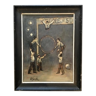 Original Arthur Smith 'Acrobat' Circus Series Painting in Original Frame